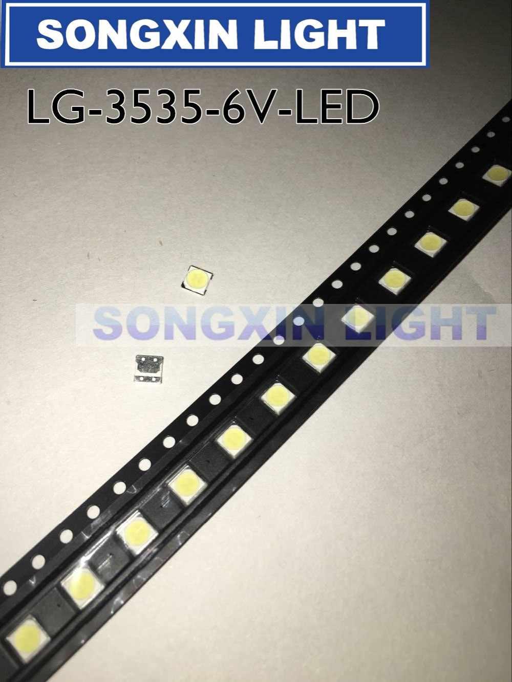 100 Uds para LG Innotek LED nuevo y Original LED 2W 6V luz blanca fría 3535 iluminación LCD trasera para TV de aplicación