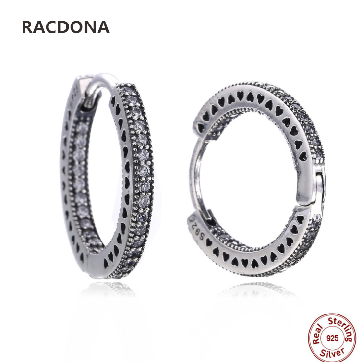 Retro 100% 925 Sterling Silver Heart 2 Circle Shine clear CZ Hoop Earrings For Women compatible with panqiou jewelery Earring
