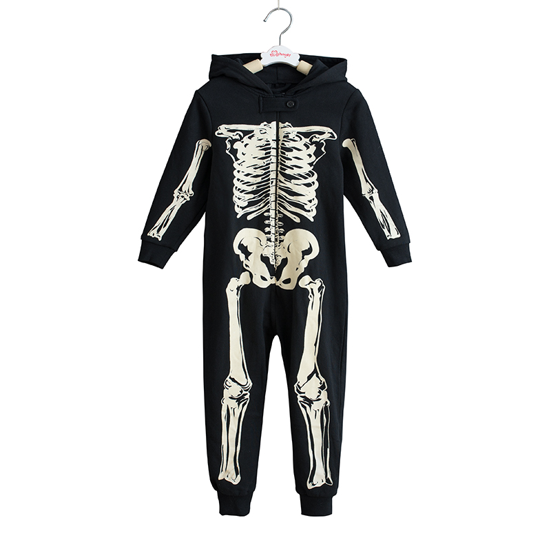 Pajamas Costumes Sleepwear Jumpsuit Overalls Onesie Skeleton Halloween Kids Children title=
