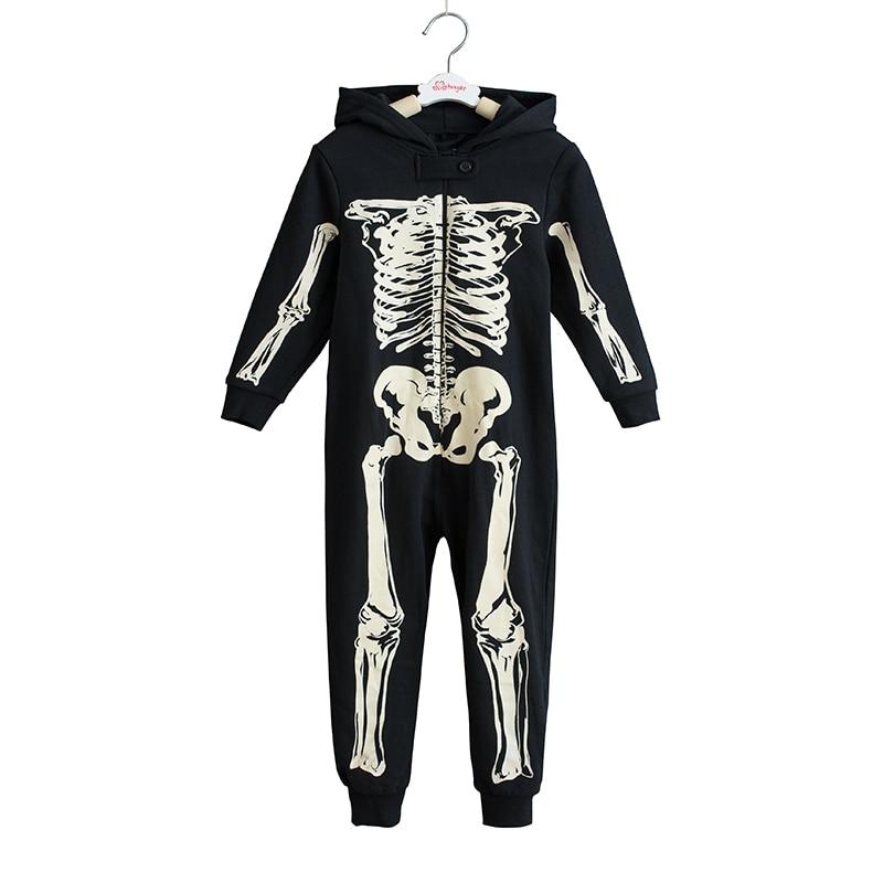 Skeleton Herbst Winter Jugendliche Overalls Overall Kinder Mit Kapuze Nachtwäsche Kinder Onesie Schwellen Pyjamas Halloween Kostüme