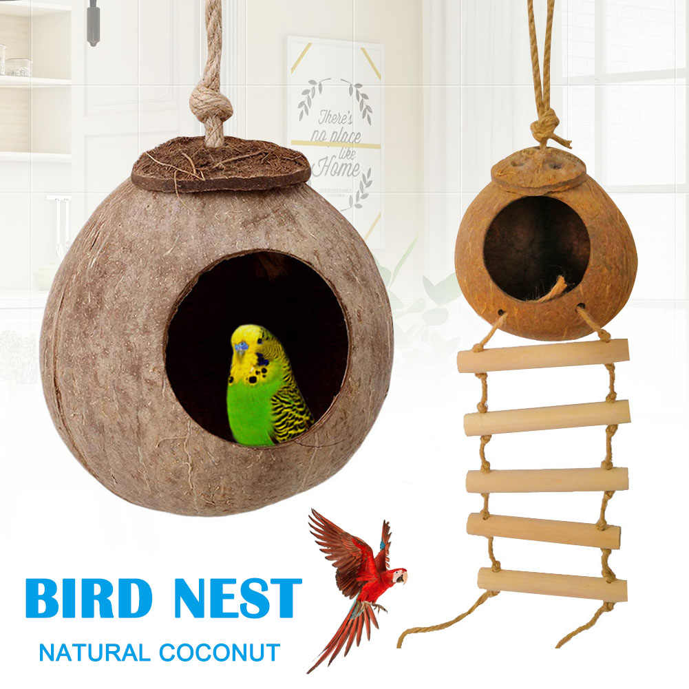 Birds Coconut Shell Breeding Nest Parrots Hamster Climb Ladder Swing Hanging Toy Nido de loros HTQ99