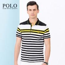 Royal Queen's Polo Team brand Men 2017 new short-sleeved tee summer striped bottom shirt men's Slim short-sleeved male Polo