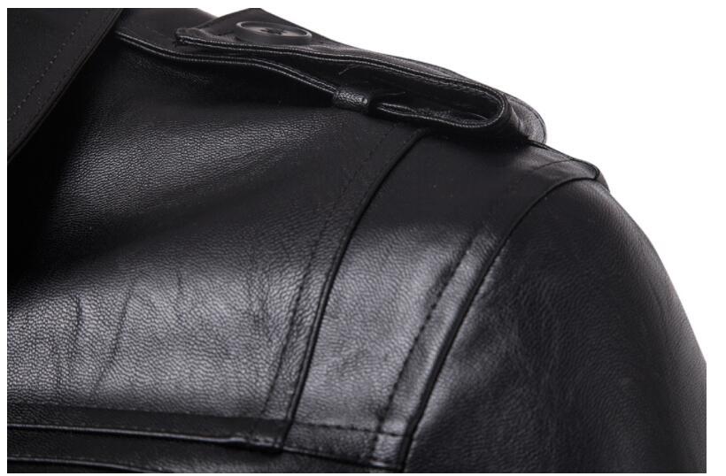 Мужские кожаные пальто тонкий мотоциклетный пиджак мужские куртки одежда персонализированные jaqueta de couro stage street Brief chapter fashion - 4