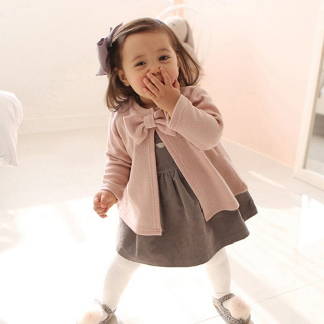Toddler Baby Girls Cardigan Jacket Coats Kids Cotton Bow-Knot Long Sleeve  Dress Jackets Children 14ff48b6f