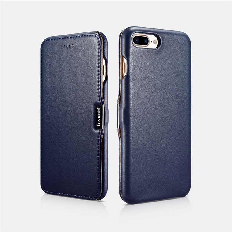 ICARER Slim Phone <font><b>Case</b></font> For <font><b>iPhone</b></font> 8P Luxury Side-open Genuine <font><b>Leather</b></font> Protective Metal <font><b>Logo</b></font> Magnetic Flip <font><b>Case</b></font> For <font><b>iPhone</b></font> 7Plus image