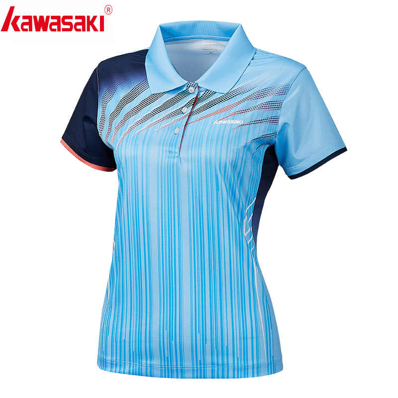 Kawasaki Clothing Sports Polo Shirts Short Sleeve for Women Quick Dry Breathable T-Shirt Woman T Shirt Sportswear ST-S2101