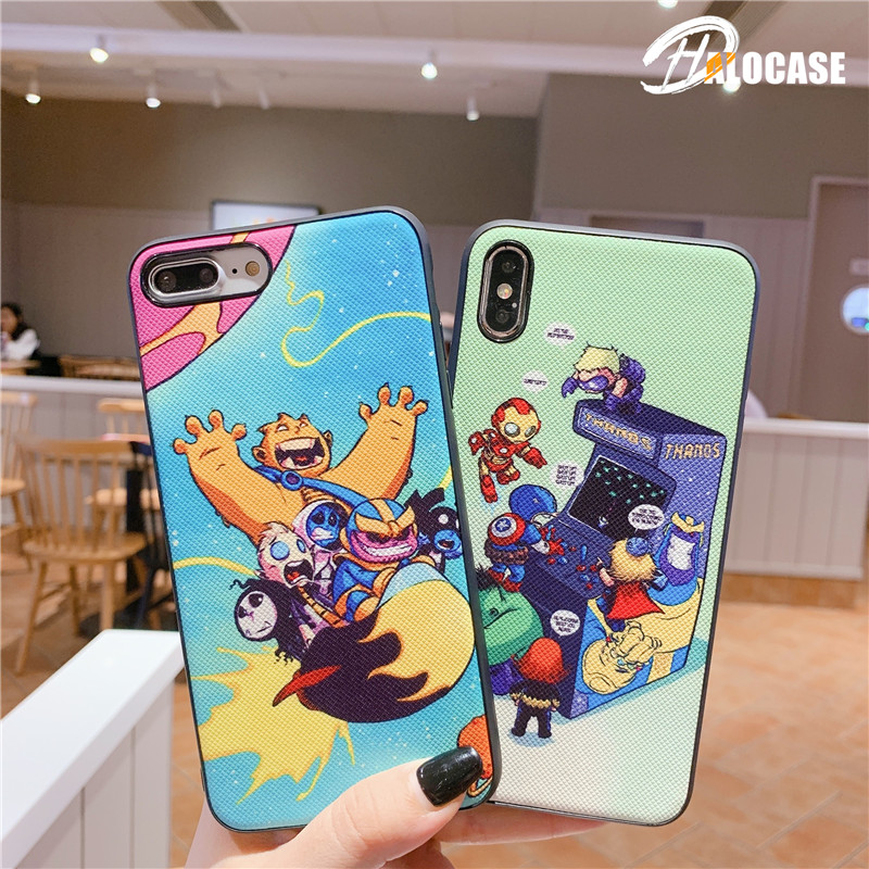 Cute Cartoon SupermanCaptain America Iron Man Batman Hulk Miracle Avengers Soft Silicone Case for iPhone X 7 8 6s Plus XR XS MAX in Fitted Cases from Cellphones Telecommunications