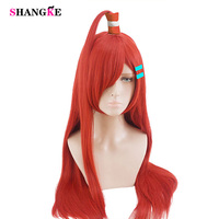 SHANGKE Long Straight Hair Red And Black Wigs Halloween Costumes Party Heat Resistant Synthetic Cosplay Wig