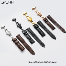 LPWHH Wholesale Cow leather WatchBand Men 22mm 24mm 20 21 18mm Metal Buterfly Buckle Breathable Genuine Leather Watch Band Strap