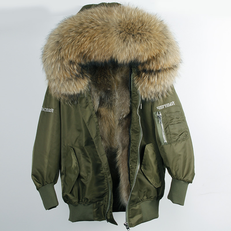 natural fur raccoon liner female winter jacket park with embroidery inscriptions free from coat