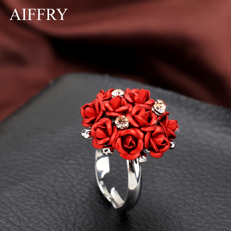 AIFFRY Fashion Wedding Engagement Rings For Women white 7 Rose Flower Jewelry Female Rin ...