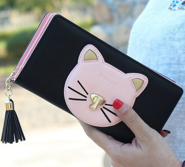 Fashion cartoon cute pattern cat wallet tassel women purse long Embroidered female wallet zipper lady clutch phone card holder cute cartoon cat pattern pu long wallet for women watermelon red