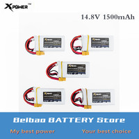 5 pcs/lot Li po battery 14.8V 1500mah 4s 45C Max 60C XT60 plug Xpower Lithium batteries for RC drone Quadcopter Truck car boat