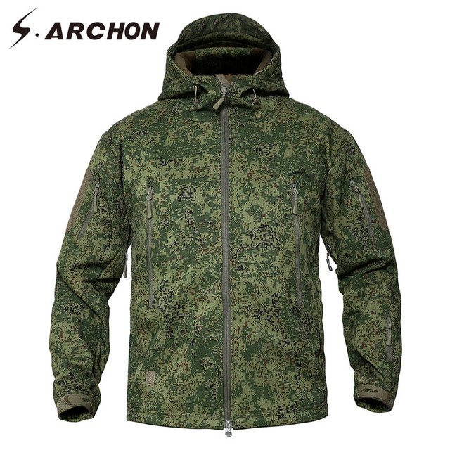 S.ARCHON New Tactical Hooded Camouflage Jackets Men Soft Shell Coat Waterproof Army Windbreaker Military Jungle Jacket Outerwear