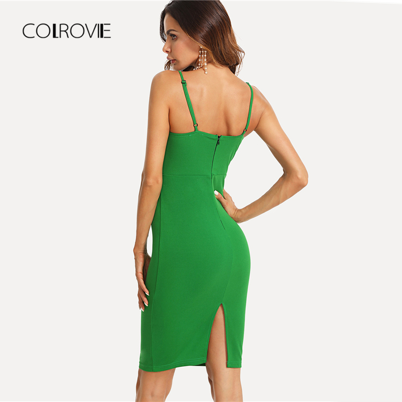 431055a4ae4 COLROVIE Twist Front Form Fitting Slit Summer Dress 2018 New Green  Sleeveless Sheath Party Dress Knot Zipper Split Women Dress