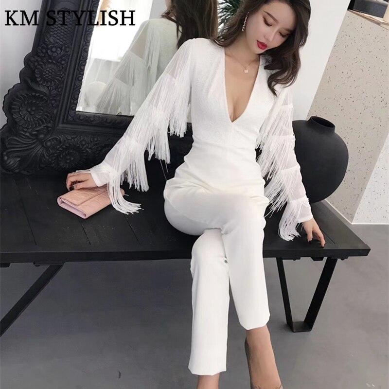 Col Haute Automne Blanc Salopette Noir De Profond Manches Marée blanc Couleur Solide Femmes Marque Taille V Nouvelle Collants 2018 Longues Noir Glands 4Bq48AOwx