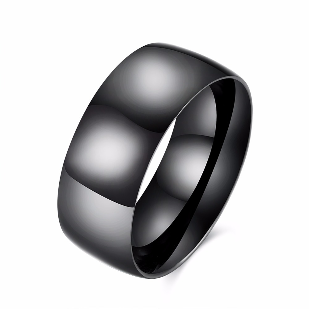 New Black Plated Single Man Ring New personality 316L Stainless Steel Super Wide infinity ring for Men Exaggerated Style R082