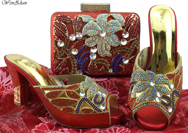 Latest Party Shoe And Bag Nigerian Flower Rhinestone Italian Style High Heels Shoes And Bags Set For Wedding Dress 8cm B85-15 doershow shoe and bag to match italian african shoe and bag sets women shoe and bag to match for parties african shoe htx1 18