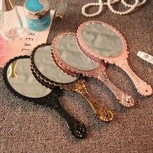 Винтажное зеркальное ручное зеркало для макияжа, розовое цветочное овальное круглое косметическое ручное зеркало с ручкой для дам