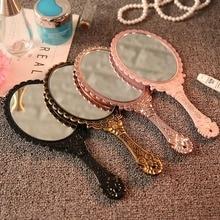 Espejo Vintage de mano, espejo de maquillaje, espejo de mano, espejo de mano redondo ovalado Floral, espejo de mano con mango para mujer