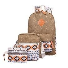 купить Double shoulder bag new ethnic canvas three-piece backpack canvas spot splice male and female student bag по цене 1903.39 рублей
