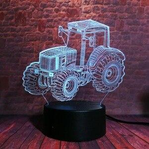 Image 5 - Yaratıcı 3D dinamik traktör otomobil araç 7 renk değiştirme USB masa masa lambası uzaktan kumanda dokunmatik taban çocuklar doğum günü noel oyuncak araba hediye