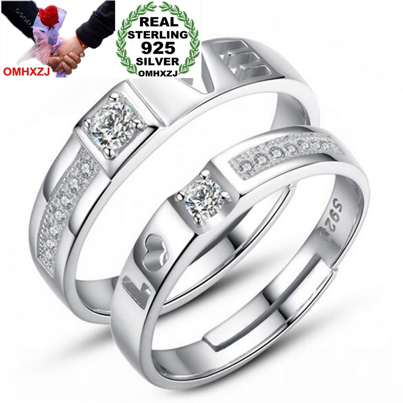 OMH Wholesale Fashion Special Love Couple AAA Zircon 925 Sterling Silver open adjust female for Woman Man Ring RG26