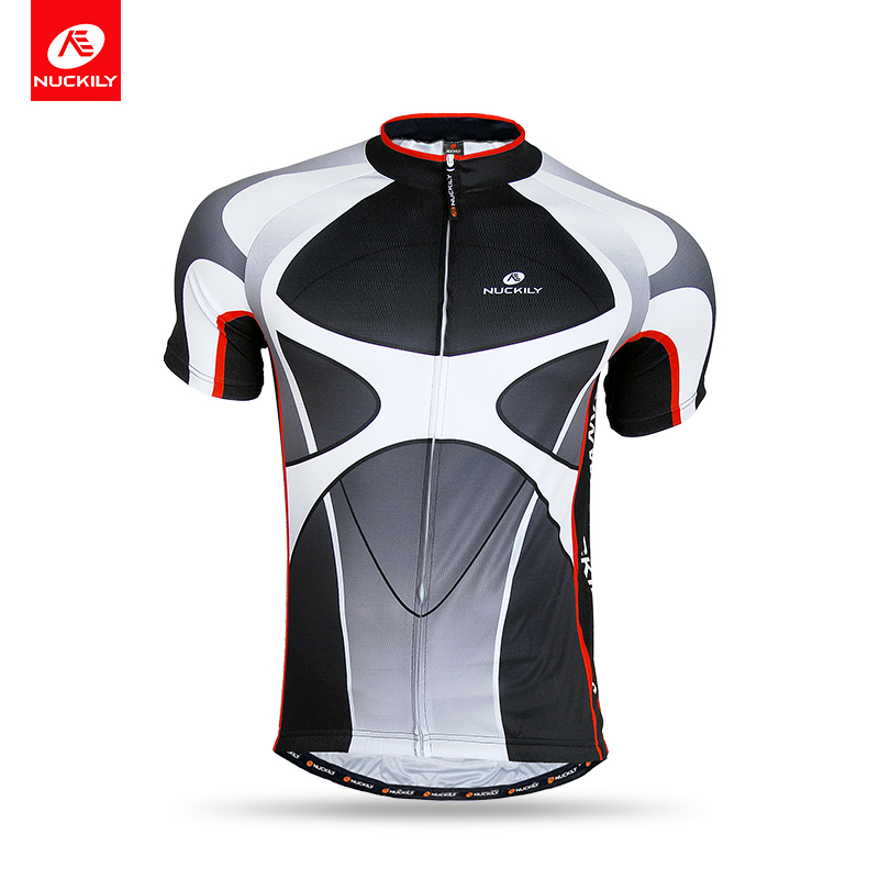 NUCKILY Summer Bike Clothes Short Sleeve Cycling Top UV Protection Sport Jersey For Men NJ506