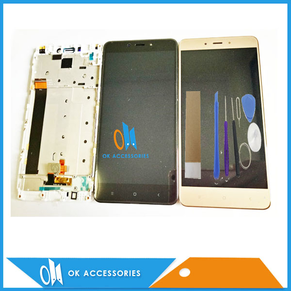Black White Gold Color CPU : MTK Helio X20 For Xiaomi Redmi Note 4 Note4 LCD Display+Touch Screen With Frame With Tools Tape