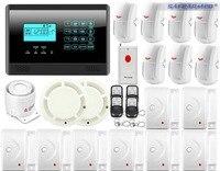 DIY Touch Keypad Wireless GSM SMS Autodial Smart Home Security Burglar Alarm System + Smoke Sensor Voice PIR Emergency