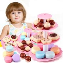 Kids Pretend Play Kitchen Afternoon Tea Toy Set for Girls Dessert Tower Miniature Food Kitchen Play toy Mini Cake Biscuits Gift недорого