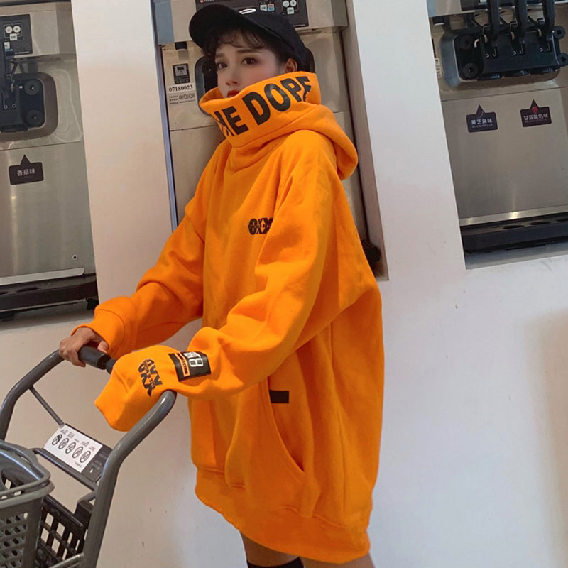 2019 Winter Thick Harakuju Sweatshirt Women Orange Turleneck Spring Hooded Pullovers Long Sleeve Oversize