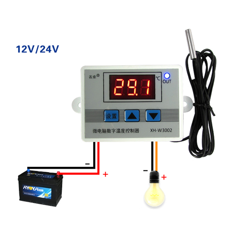 220V 12V 24V Digital LED Temperature Controller Thermostat Switch Probe Sens -Y103 digital thermostat control w1411 220v switch temperature thermometer controller start stop value with waterproof probe 39