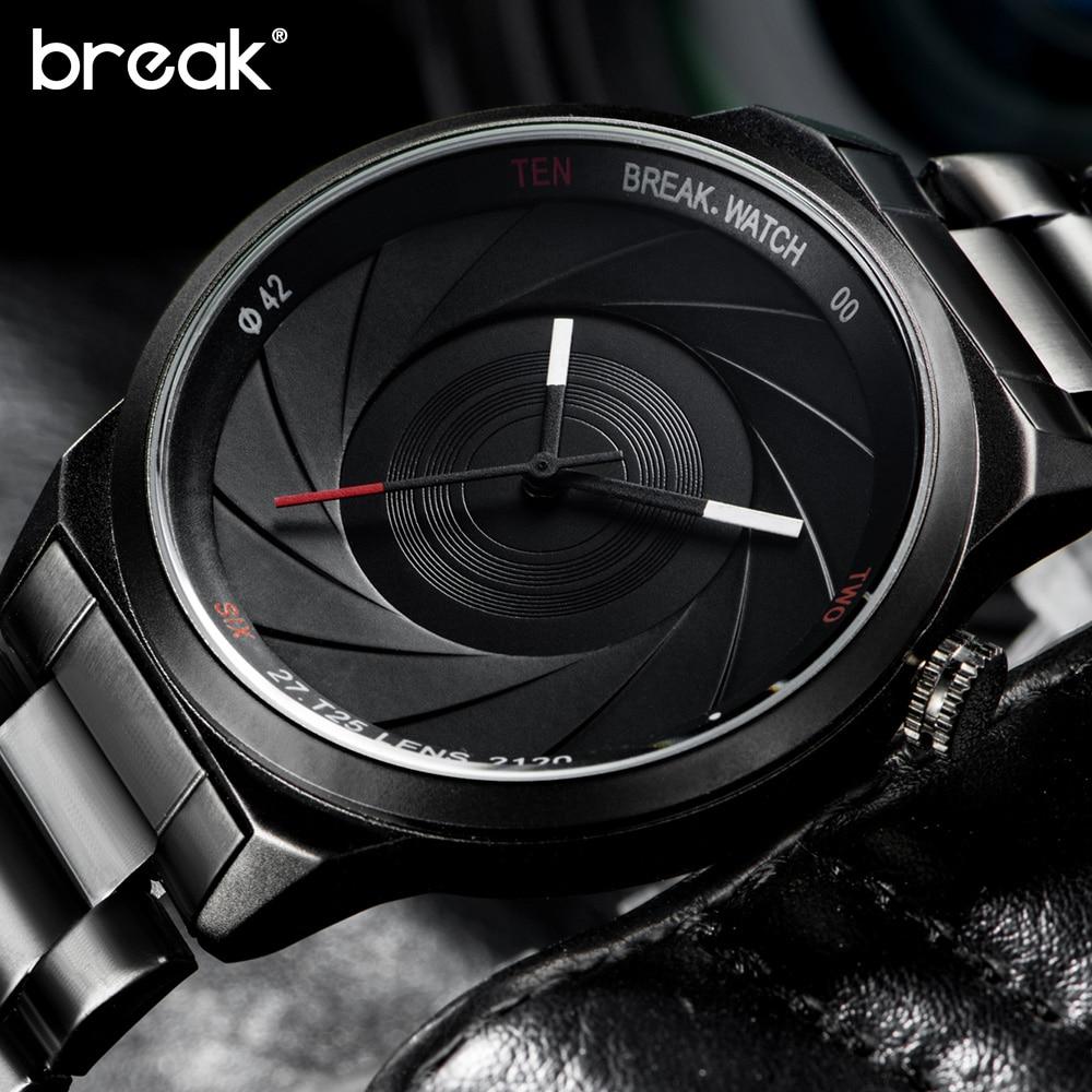Break Creative Unique Design Mens Watches Top Brand Luxury Wristwatch Quartz Sports Wrist Watch Men Gift Clock Relogio Masculino|masculino|masculinos relogios|masculino watch - title=