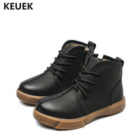 New Autumn/Winter Children Boots Boys Girls Genuine Leather With Plush Warm Baby Ankle Boots Kids Martin boots Shoes 018