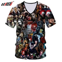 UJWI Man Skull Horror Mask Tee Shirt Men's 3D Harajuku Oversized V Neck Tshirt Printed Cartoon Fitness T-shirt(China)