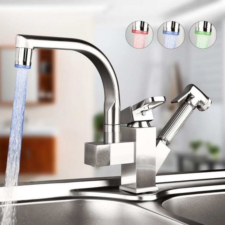 цена на Rotated kitchen sink basin faucet pull down LED,Copper stretched dish basin faucet brushed,Kitchen faucet mixer tap hot and cold