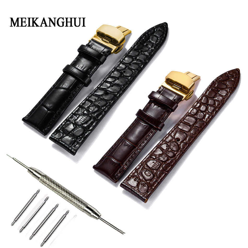 MeiKangHui Genuine Leather Watchband 16mm 18mm 20mm 22mm Universal Watch Pulseiras Steel Buckle Strap Wrist Belt Bracelet + Tool цена