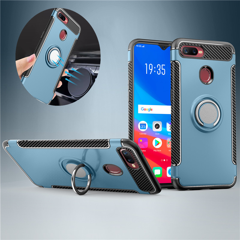 Armor Case For OPPO F9 F7 F3 Plus A77 Car Ring Holder Stand Hybrid PC TPU Shockproof Back Cover For F5 A73 A59 A79 A83 A3S A5