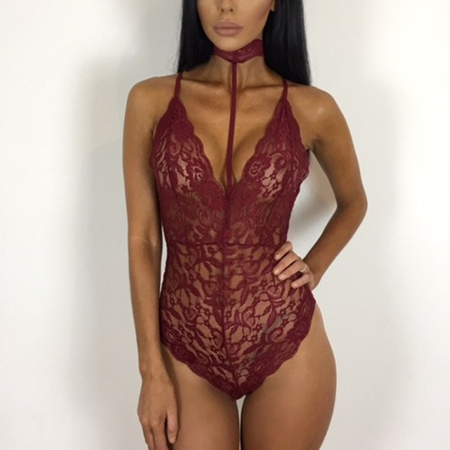 5348ea4adc Sexy Lace Red Halter Bralette Hollow Out V Neck Backless Women Party  Bodysuits Off Shoulder Skinny Evening Night Club Bodysuits