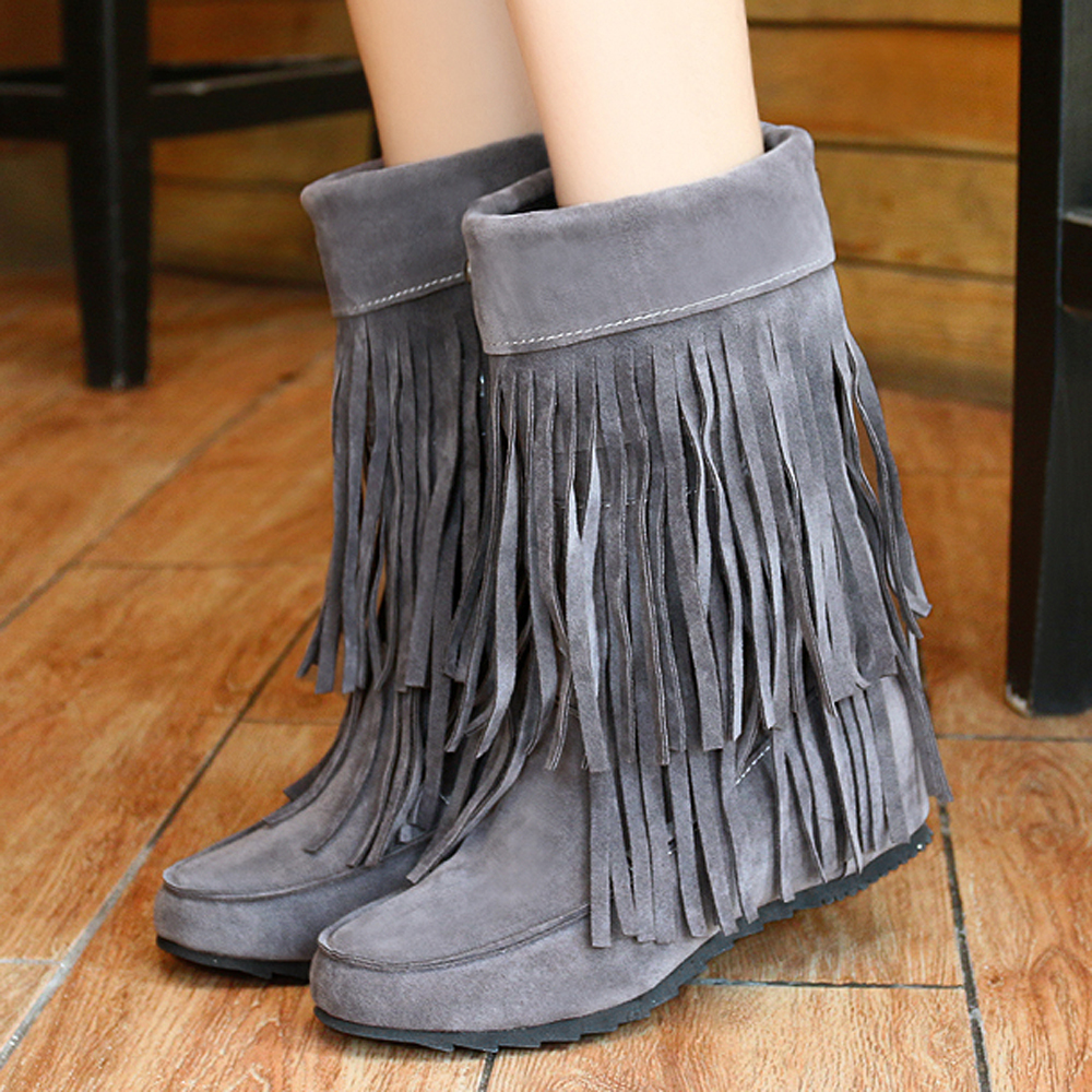 Online Shop Meotina Women Boots Mid Calf Boots Ladies Fringe Boots ...