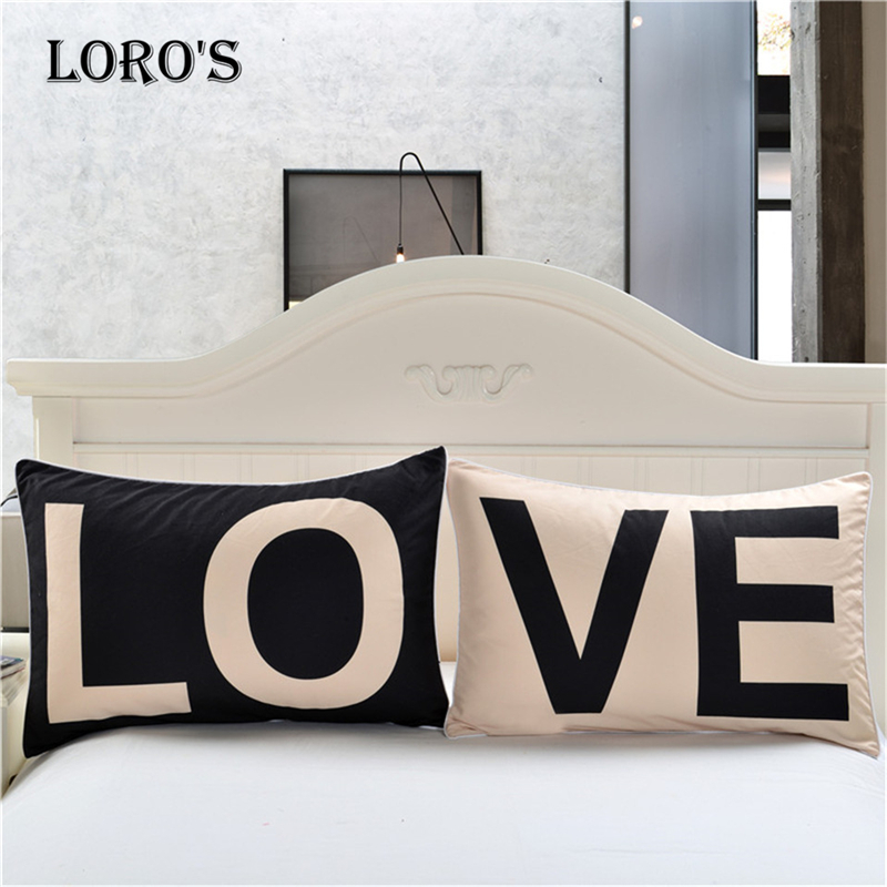 Simple Black White LOVE <font><b>Pillow</b></font> <font><b>Case</b></font> White Couple Lovers Gift <font><b>Pillow</b></font> Throw Pillowcases Home Beddroom Two Pair <font><b>Pillows</b></font> Bedding Set image
