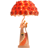 Modern Romantic Wedding Roses Led E27 Table Lamp for Living Room Bedroom Deco Creative Fashion Wedding Present H 52cm 1712