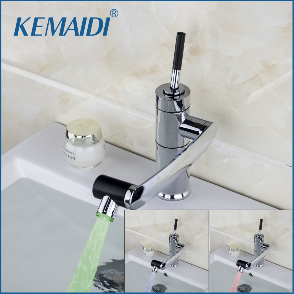 KEMAIDI New Kitchen Faucet Temperature Sensor LED Light Swivel Chrome Sink Basin Deck Brass Torneira Cozinha
