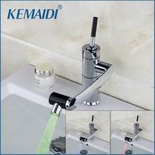 KEMAIDI New Kitchen Faucet Temperature Sensor LED Light  Swivel Chrome Sink Basin Deck Brass Torneira Cozinha Tap Mixer Faucet