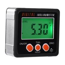 Электронный транспортир Цифровой Инклинометр 0-360 алюминиевый сплав цифровая коническая коробка измеритель углов магниты база измерения тоже