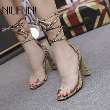Transparent Snake Pattern Sexy Ankle Straps Womens Sandals 2019 Summer New High Heels Square Head Ladies Shoes Roman