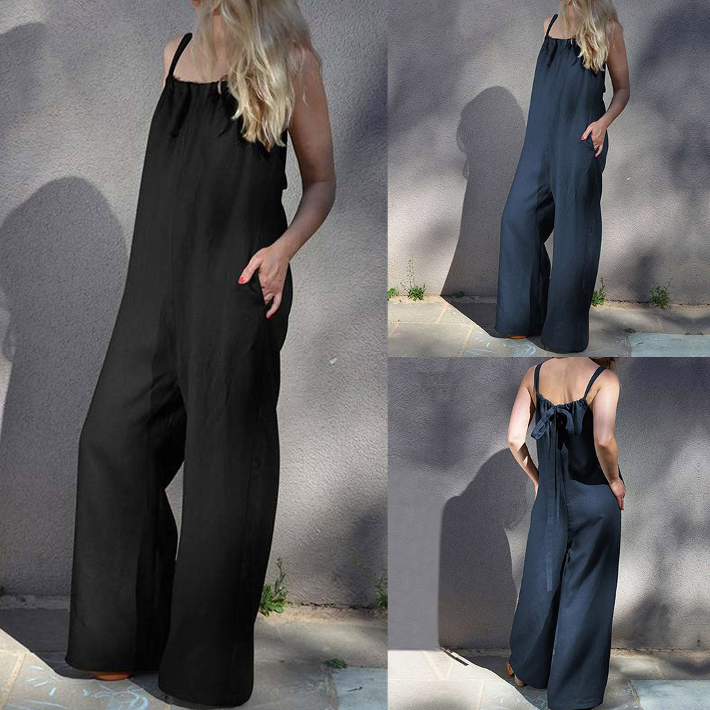 2019 New Overalls   jumpsuits   women xxxl plus size Women Summer Sleeveless Loose Wide Leg Bib Pants   Jumpsuit   Romper Playsuit Plus