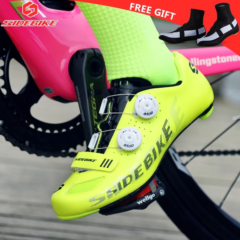 Free shipping wholesale men and women's bicycle self-locking road and MTB carbon shoes tour de france yellow fluo cycling shoes kraftwerk – tour de france 2 lp