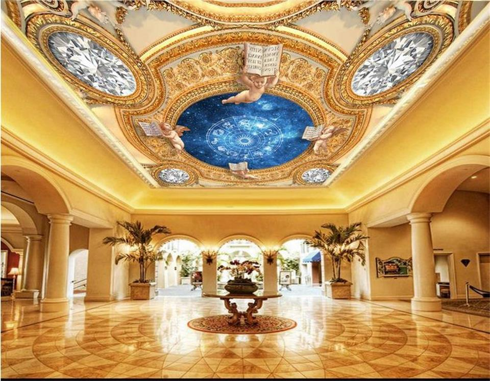 custom 3d photo wallpaper mural ceiling room living room diamond Star angel zenith HD painting background non-woven wall sticker ceiling non woven wallpapr home decoration wallpapers for living room 3d mural wallpaper ceiling customize size